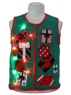 1990's Unisex/Kids Multicolor Lightup Ugly Christmas Sweater Vest