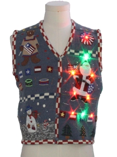 1980's Womens Multicolor Lightup Patriotic Ugly Christmas Sweater Vest