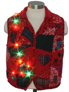 1980's Womens Multicolor Lightup Country Kitsch Ugly Christmas Sweater Vest