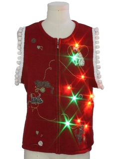 1980's Unisex Cat-tastic Multicolor Lightup Hand Embellished Ugly Christmas Sweater Vest