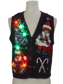 1980's Womens Multicolor Lightup Bear-riffic Ugly Christmas Sweater Vest