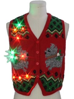 1980's Womens Multicolor Lightup Dog-gonnit Ugly Christmas Sweater Vest