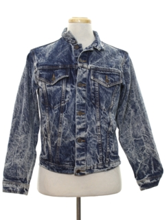 1980's Mens Totally 80s Acid Washed Denim Jacket