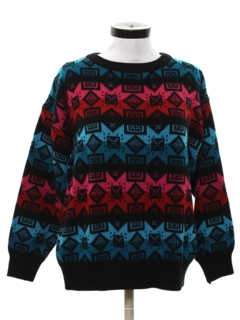 1980's Womens Totally 80s Vintage Snowflake Ski Sweater