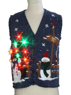 1980's Unisex Ladies or Boys Multicolor Lightup Ugly Christmas Sweater Vest
