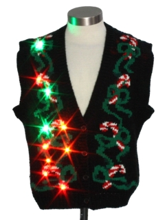 1980's Womens Vintage Multicolor Lightup Ugly Christmas Sweater Vest
