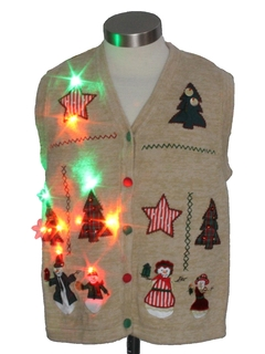 1980's Womens or Girls Multicolor Lightup Country Kitsch Ugly Christmas Sweater Vest