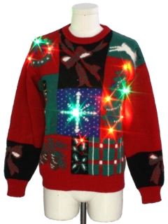 1980's Mens Wool Multicolor Lightup Ugly Christmas Sweater