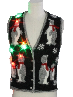 1980's Unisex Vintage Multicolor Lightup Ugly Christmas Sweater Vest