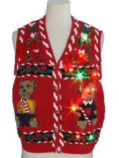 1990's Unisex Vintage Multicolor Lightup Bear-riffic Ugly Christmas Sweater Vest