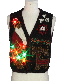 1980's Womens Designer Multicolor Lightup Ugly Christmas Sweater Vest
