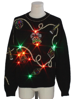 1980's Unisex Vintage Multicolor Lightup Ugly Christmas Cocktail Sweater