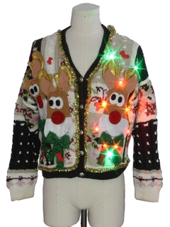 1980's Unisex Multicolor Lightup Hand Embellished Ugly Christmas Cardigan Sweater