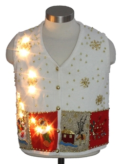 1980's Womens Lightup Ugly Christmas Sweater Vest