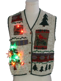 1980's Womens Multicolor Lightup Country Kitsch Style Ugly Christmas Sweater Vest