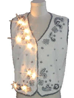 1980's Unisex White Lightup Ugly Christmas Sweater Vest