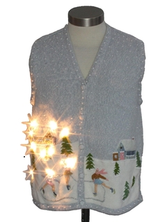 1980's Womens White Lightup Ugly Christmas Sweater Vest
