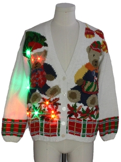 1980's Unisex Multicolor Lightup Bear-riffic Ugly Christmas Cardigan Sweater