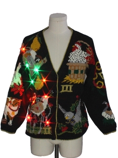 1980's Unisex Multicolor Lightup Ugly 12 Days of Christmas Cardigan Sweater