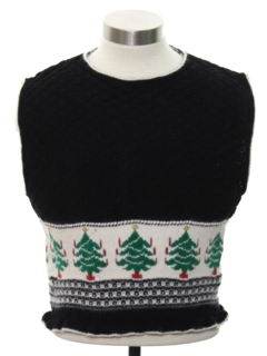 1980's Womens or Girls Vintage Ugly Christmas Pullover Sweater Vest