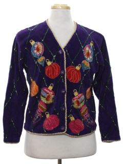 1980's Womens Vintage Designer Ugly Christmas Cardigan Sweater