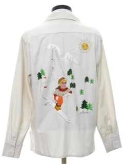 1970's Womens Embroidered Hippie Ski Shirt