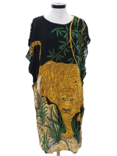 1980's Womens Totally 80s Animal Print Caftan Dress