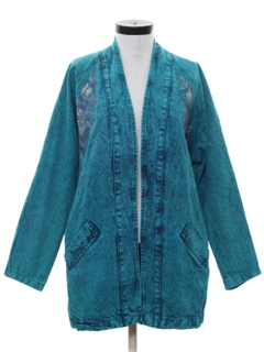 1990's Womens Totally 80s Style Acid Washed  Over Dyed Denim Jacket