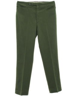 1960's Mens Mod Leisure Style Flat Front Cotton Blend Slacks Pants
