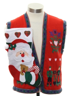1980's Womens Hand Embellished Ugly Christmas Vintage Sweater Vest