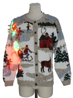 1980's Womens Multicolor Lightup Ugly Christmas Sweater