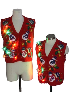 1980's Womens Multicolor Lightup Ugly Christmas Matching Set of Sweater Vests