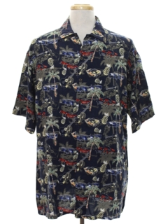 1990's Mens Totally 80s Hawaiian Style Rayon Shirt