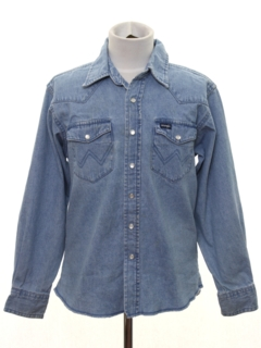 1980's Mens/Boys Denim Western Shirt