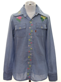 1970's Mens/Boys Embroidered Chambray Hippie Shirt