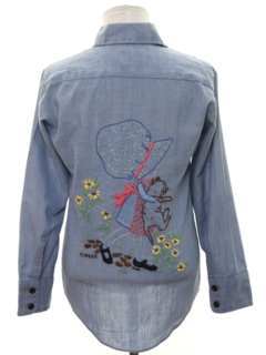 1970's Womens/Girls Embroidered Chambray Hippie Shirt