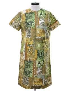 1970's Womens Mod Print Asian Inspired Silk Dress