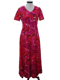 1960's Womens Hawaiian Style Maxi Dress