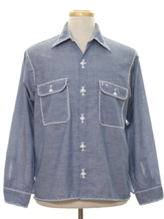 1970's Mens Chambray Hippie Sport Shirt