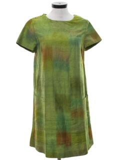 1960's Womens Mod Silk A-Line Dress