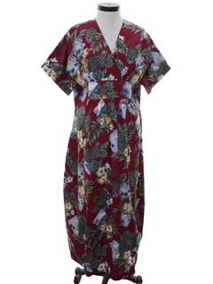 1980's Womens Kimono Style Hawaiian Maxi Dress