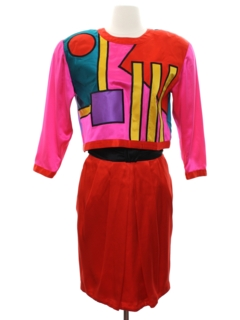 1980's Womens Totally 80s Op-Art Suit