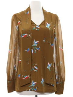 1970's Womens Print Disco Style Silk Shirt