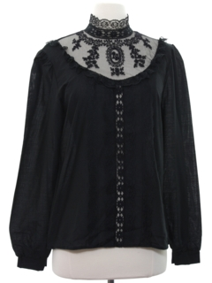 1970's Womens Goth Victorian Style Shirt