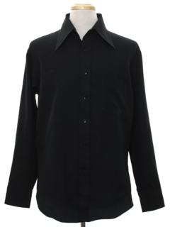 1970's Mens Saturday Night Fever Style Black Solid Disco Shirt