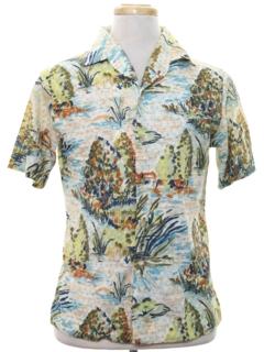 1960's Mens Mod Print Sport Shirt