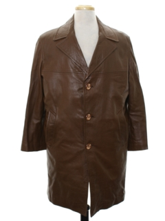 1970's Mens Leather Overcoat Jacket
