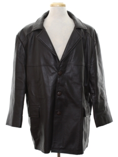 1980's Mens Leather Car Coat Jacket