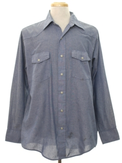 1980's Mens Chambray Western Work Style Shirt