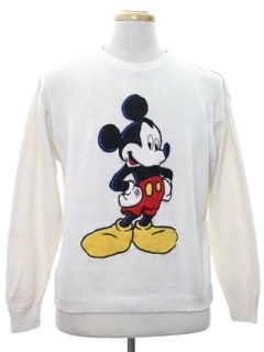 1980's Mens Totally 80s Mickey Mouse Sweater